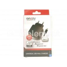 СЗУ Ginzzu GA-3314UB (2*USB/ 3100 mA/ кабель Type-C), чёрный (АКЦИЯ !!!)
