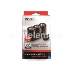 Разветвитель на 3 прикуривателя Ginzzu GA-4620UB 12/24V, +2 USB выхода (3600 mA) чёрный