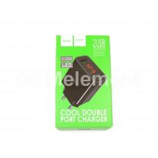 СЗУ Hoco C25A (2 USB выхода 2.4 A/ вольтметр/ LED), чёрный