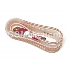USB датакабель Type-C плетёный розовый, (1,0 m), в техпаке