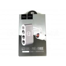 Разветвитель прикуривателя Hoco Z13 (3 гнезда/ 2 USB вых. (2.1 A)/ вольтметр/ 12-24V), серебро-белый