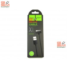 USB датакабель для Apple 30 pin Hoco X1 Rapid series, силикон (2.1A/ 1.0 m), чёрный