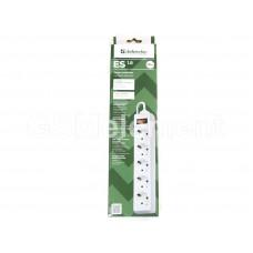 Сетевой фильтр Defender ES 1.8 (5 розетки с заземлением, 10 A, 1.8 m), белый