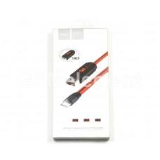USB датакабель Type-C Hoco U29 LED, силиконовый с вольтметром (1,2 m) красно-чёрный