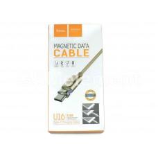 USB датакабель Type-C Hoco U16 Magnetic (2.4 A/ 1.2 m) магнитный, в переплёте, золото