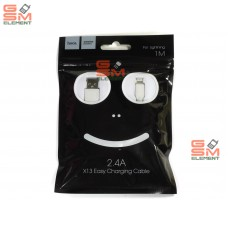 USB датакабель для Apple 8 pin Hoco X13 Easy (2.4 A/ 1.0 m) силикон, круглый, белый
