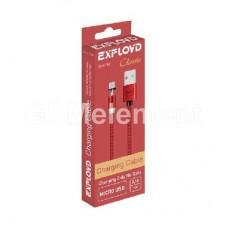 USB датакабель micro USB Exployd EX-K-783, магнитный, в оплётке, красный