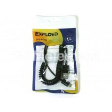 USB датакабель micro USB Exployd EX-K-152, силикон, пружинка, (1.5 m/2A), чёрный