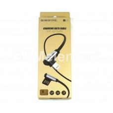 USB датакабель для Apple 8 pin Borofone BU5 (1.2 m/2.4A) силикон, угловой, черный