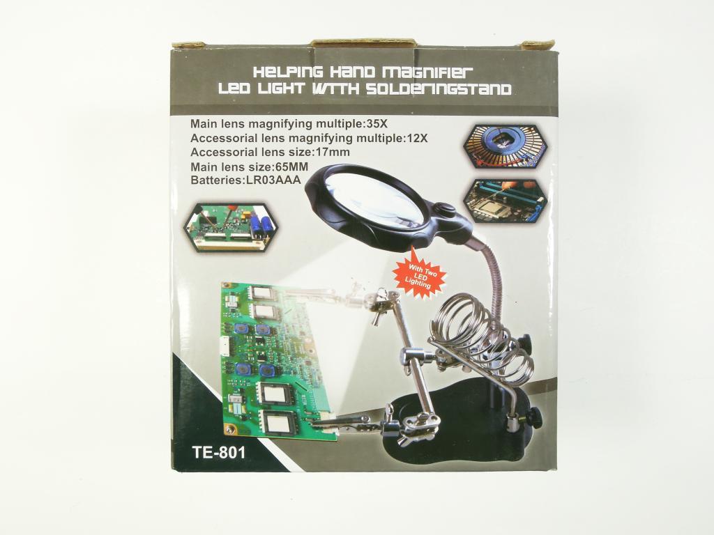 Держатель плат TE-801 с лупой, подсветкой и подставкой для паяльника