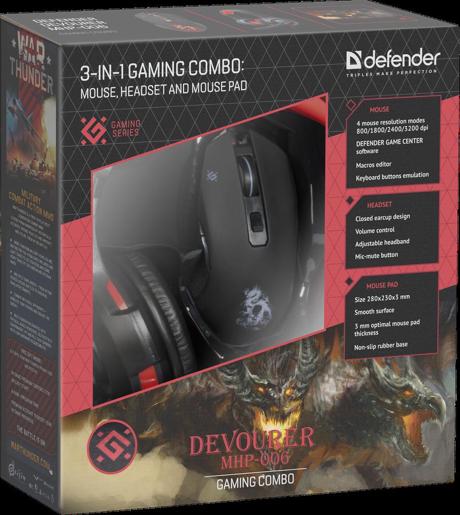 Игровой набор Defender Devourer MHP-006 (мышь+гарнитура+коврик)